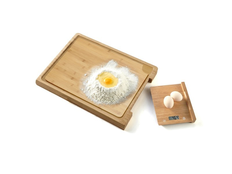 Balance culinaire + planche à découper en bamboo - 38 cm - ecran lcd - pem sc-380