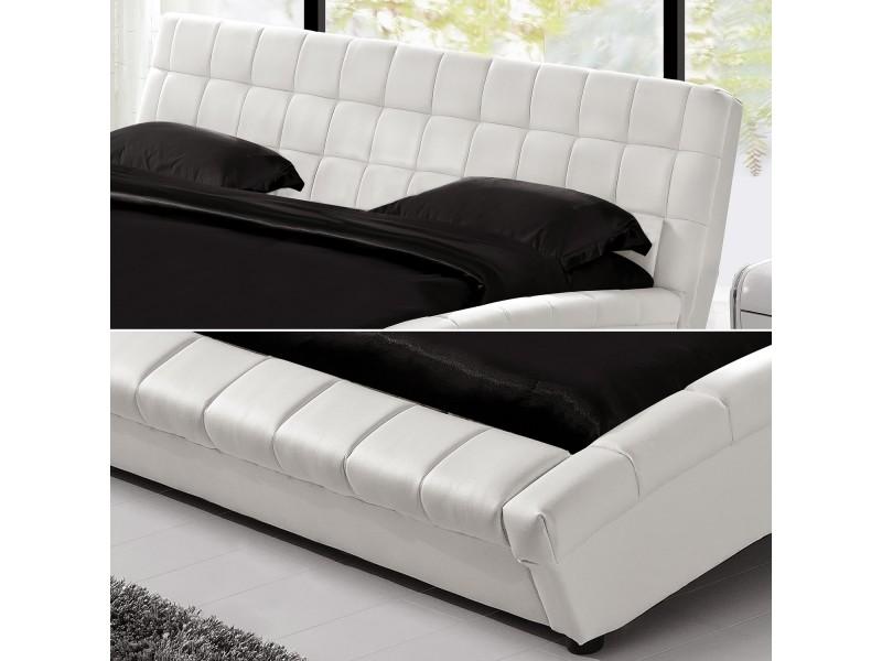 Lit chelsea cadre de lit en simili capitonn blanc 160x200cm vente de lit adulte conforama - Lit capitonne blanc 160x200 ...