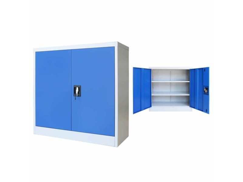Chic armoires et meubles de rangement categorie malé armoire de bureau métal 90 x 40 x 90 cm gris et bleu