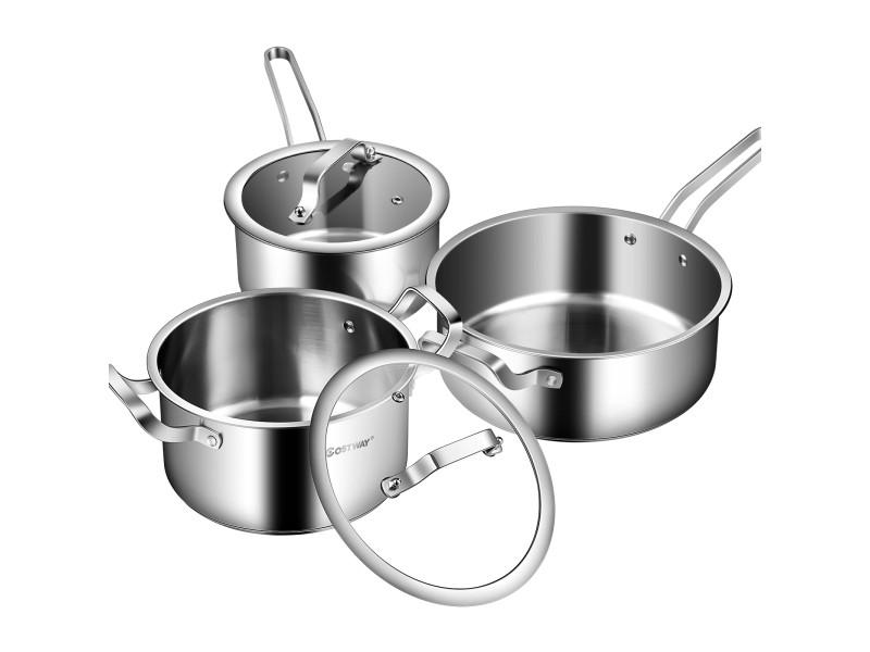 Giantex casserole batterie de cuisine 6 pièces en acier inoxydable, résistante au four et au lave-vaisselle, inclus poêle, casserole, faitout