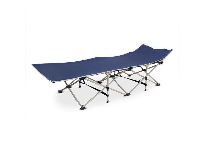 Lit de plage pliant, transat réglable, 190 x 67 x 35 cm, bleu marin, matériau: polyester 600d, tubes en acier 3700778716758