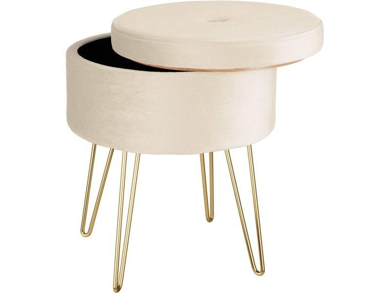 Tabouret siège pouf avec coffre de rangement table basse aspect velours beige helloshop26 08_0000307