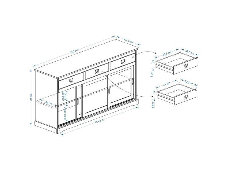 7a528d8646ca08 Buffet savona bahut vaisselier commode avec 3 tiroirs et 3 portes  coulissantes, en pin massif. prevnext