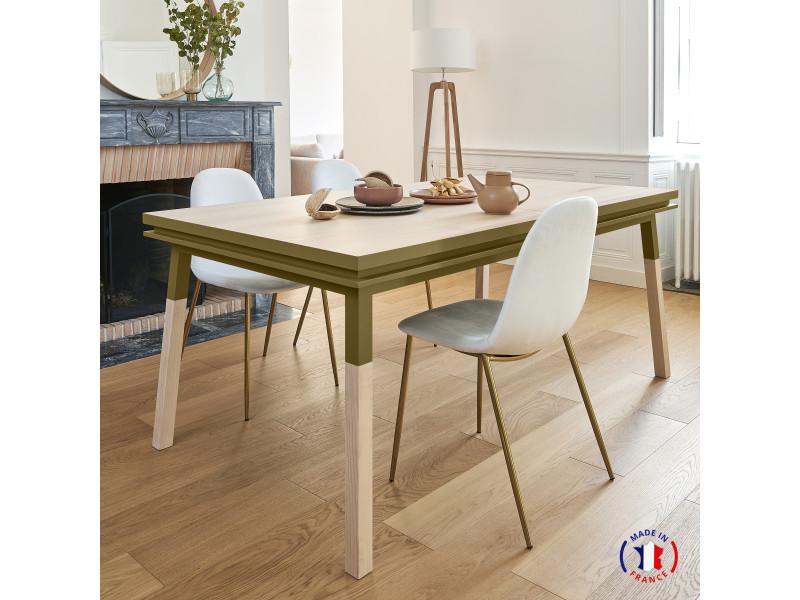 Table extensible bois massif 160x100 cm tabac de ruca - 100% fabrication française