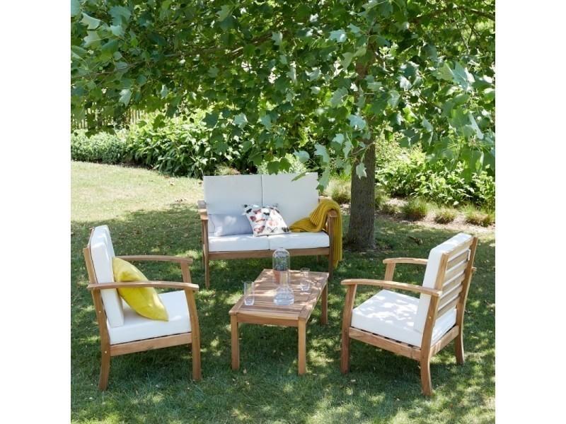 Salon de jardin en bois d\'acacia fsc 4 places - Vente de ...