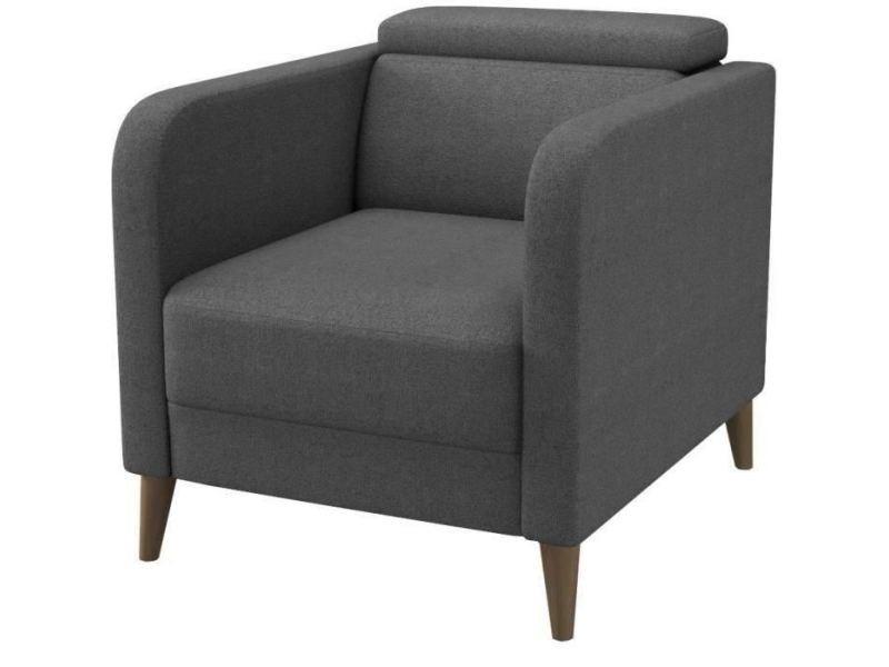 Fauteuil fauteuil avec tetiere ajustable limpia - pieds en bois massif - tissu gris anthracite - scandinave - l 76 x p 71 cm