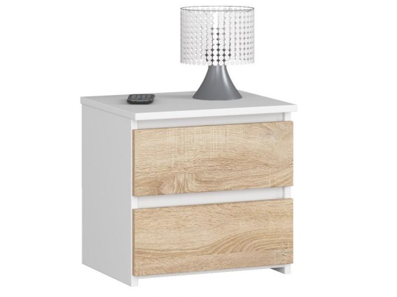 Shala - table de chevet contemporaine chambre 40x40x35 cm - 2 tiroirs - chevet chiffonier - design moderne - blanc
