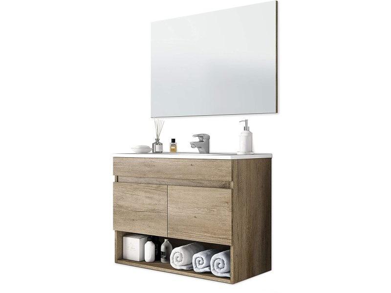 Meuble sous-vasque suspendue avec 2 portes + miroir coloris nordik - 80 cm longueur x 64 cm hauteur x 45 cm profondeur