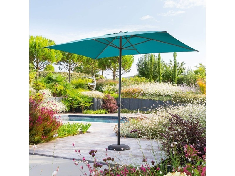 Parasol mat central 2x3 m loompa canard hespéride - bleu canard
