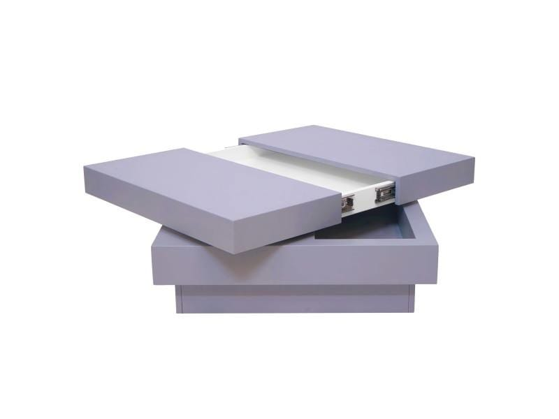 Table basse de salon hwc-g83, extensible, pivotante, 30x70x70cm ~ gris terne