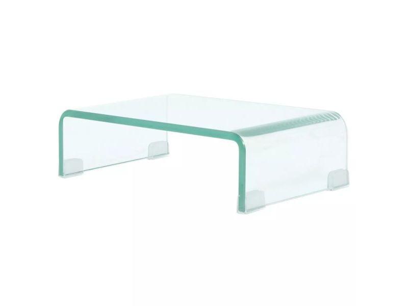 Meuble télé buffet tv télévision design pratique pour moniteur 40 cm verre transparent helloshop26 2502257