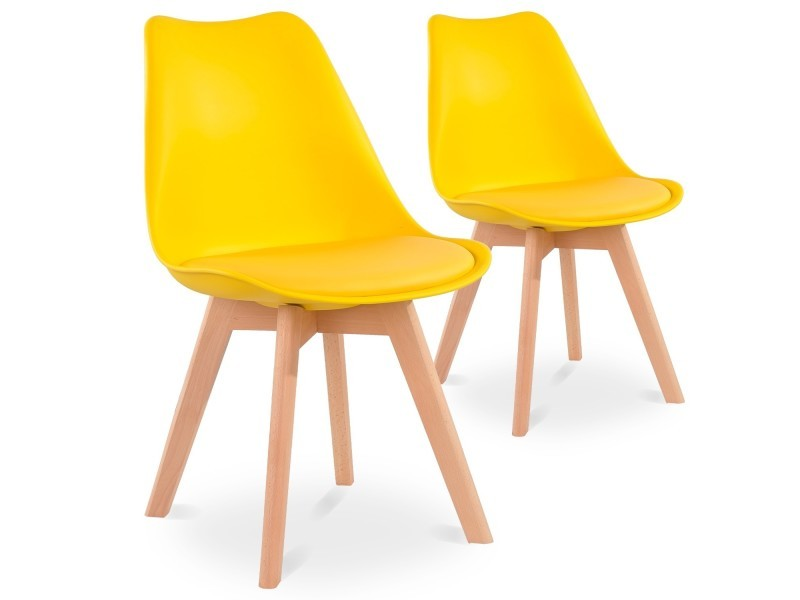 Lot De 2 Chaises Style Scandinave Catherina Jaune Conforama