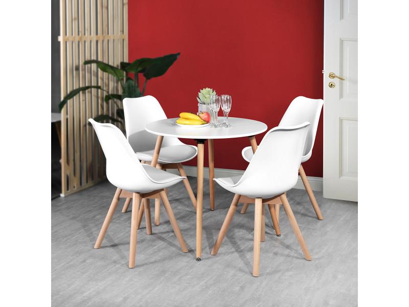 Ensemble table à manger ronde 80*80 et 4 chaises scandinave bois blanc