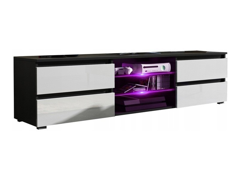Meuble tv noir mat et blanc mat 4 tiroirs + led rgb
