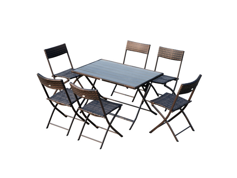 Ensemble salon de jardin 6 personnes grande table ...