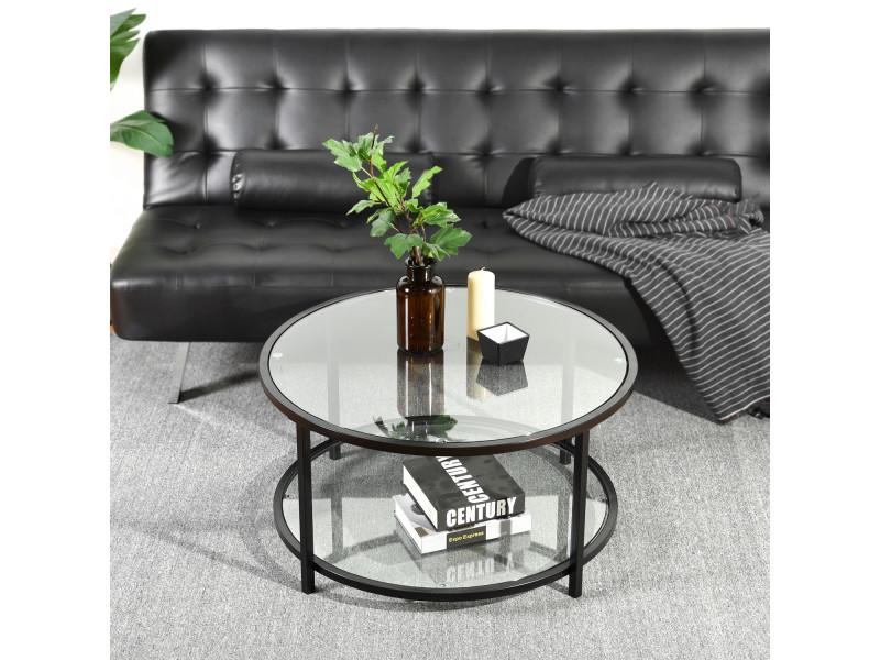 Table basse ronde verre transparent métal
