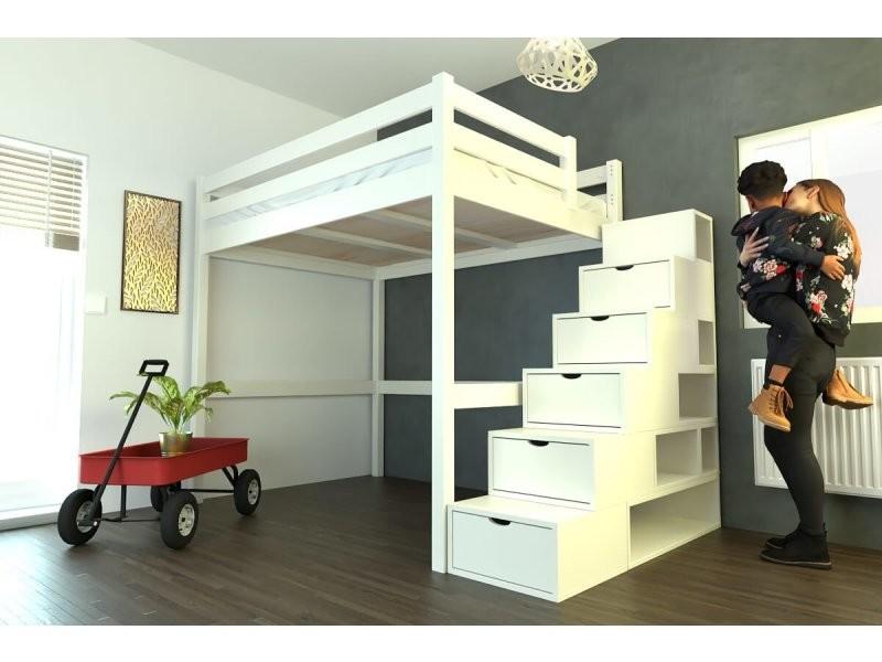 lit mezzanine sylvia avec escalier cube bois 140x200 ivoire cube140-iv