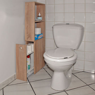 Meuble de toilettes 1 tiroir 2 niches alaska ch ne blanchi 810260c vente de armoire for Meuble wc conforama