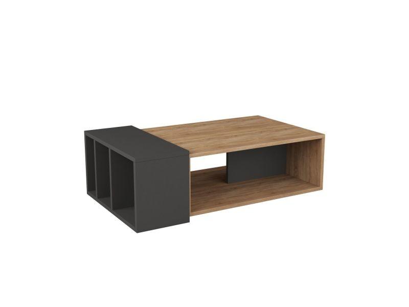 Table basse design bois anita - l. 102 x h. 32 cm - gris anthracite et chêne
