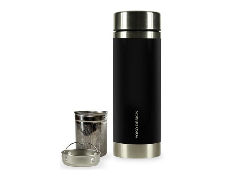 Théière esthetique théière nomade isotherme 2 filtres amovibles liber'tea 350 ml - noir et inox