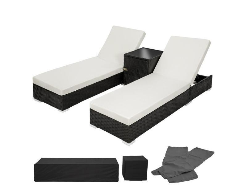 Lot de deux chaises longue bain de soleil en résine tressé poly rotin noir + table + deux set de housses + housse de protection helloshop26 2108020