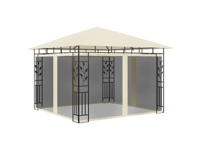 Magnifique structures extérieures ligne kinshasa belvédère avec moustiquaire 3x3x2,73 m crème 180 g/m²