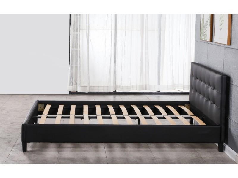 Frederic - solide et confortable lit avec sommier + tête de lit capitonnee couleur noir + pieds en 10 cm pour matelas en 90x190 - 13 lattes - revetement pvc simili facile d'entretien - montage rapide et facile