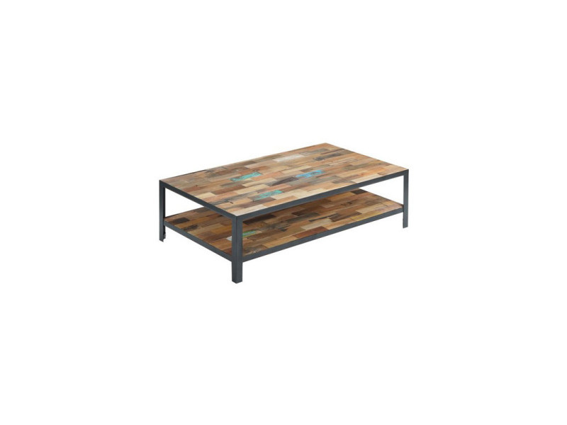 Table basse rectangulaire double plateau - fabrik - l 120 x l 70 x h 35 - neuf