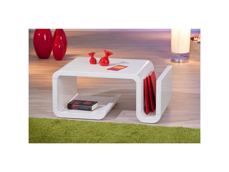 Table Basse Table De Salon Design Moderne Avec Rangements Blanc