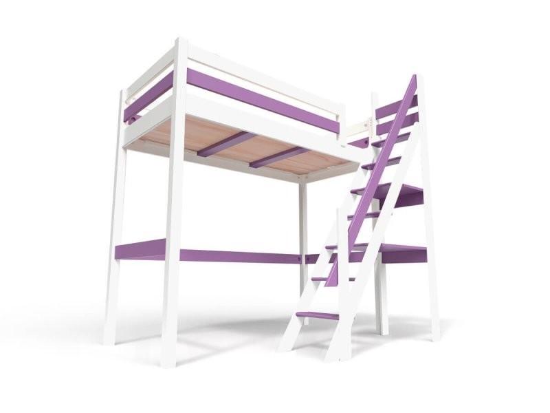 Lit mezzanine sylvia avec escalier de meunier bois 90x200 blanc/lilas 1130-BL
