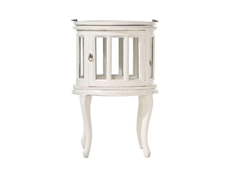 Table basse ronde en bois d'acajou , blanc