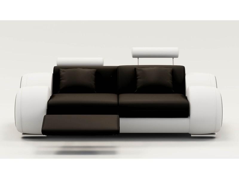 Canapé 2 places design relax oslo en cuir noir et blanc-