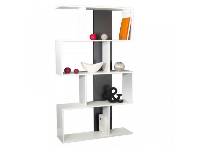 box tag re biblioth que ouverte couleur blanc et gris 20100831613 vente de etag re conforama. Black Bedroom Furniture Sets. Home Design Ideas