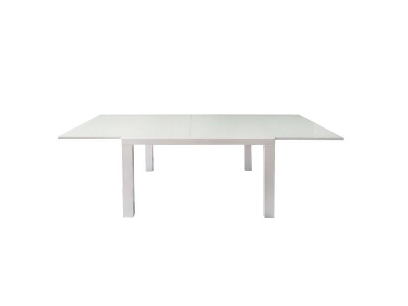 Table extensible 120 à 230 cm plateau verre blanc - milka