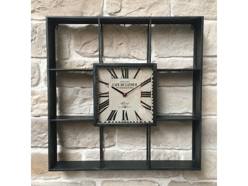 Style ancienne horloge etagère industrielle murale fer 80 cm x 80 cm x 12 cm 15093-Horloge-Fer