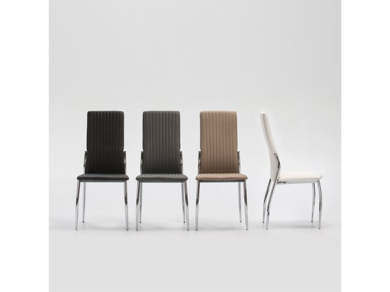 Quatuor de chaises simili cuir blanc merlain l 42 x l 54