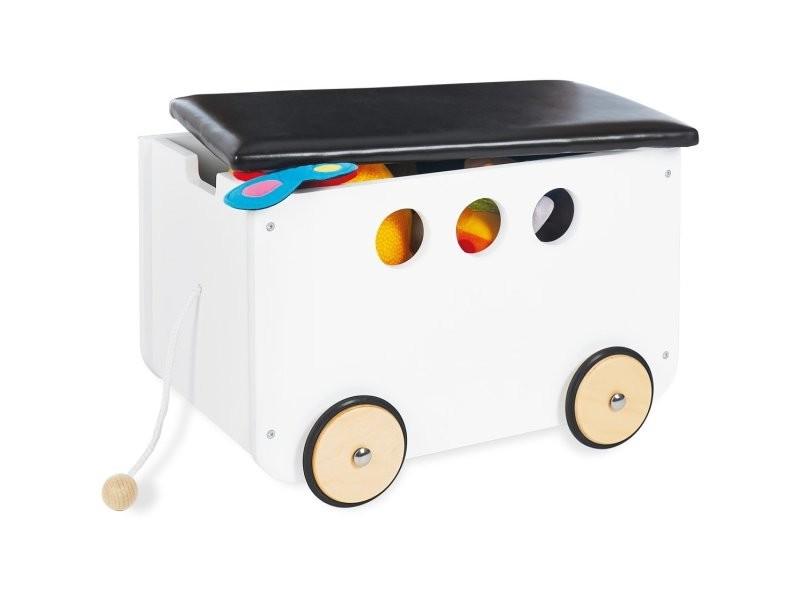 Coffre à jouet banquette de rangement sur roulettes pour enfant blanc et noir ape07033