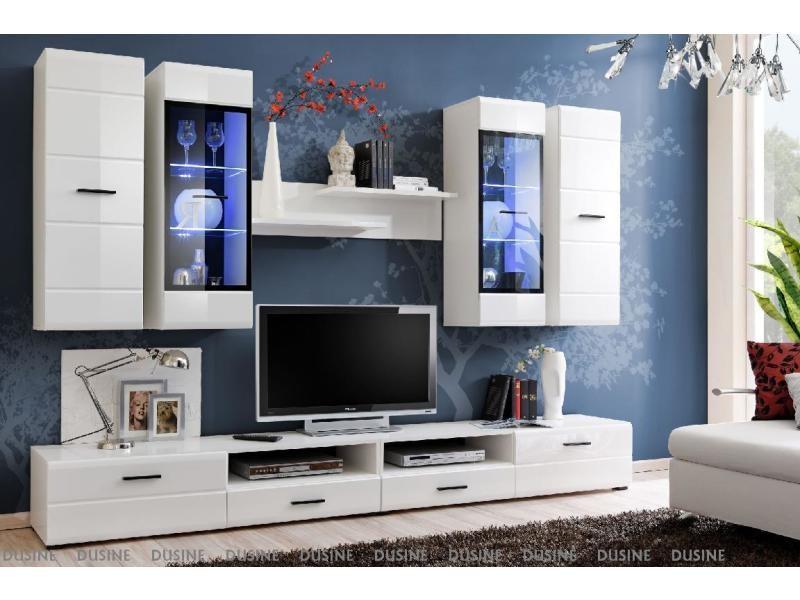 Meubles design allure 280 cm blanc laqué avec led pour tv et box