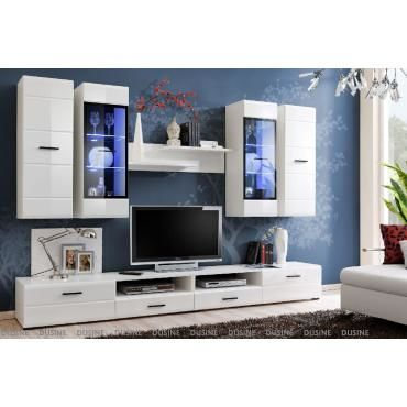 meubles design allure 280 cm blanc laqu avec led pour tv et box vente de meuble tv conforama. Black Bedroom Furniture Sets. Home Design Ideas