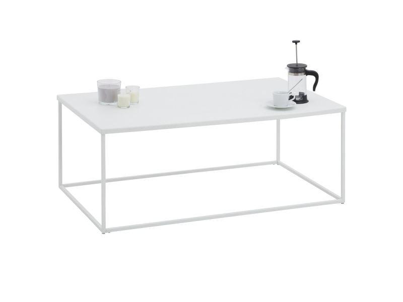 Table basse kendo, table de salon grande table d'appoint, design industriel, plateau rectangulaire en métal laqué blanc