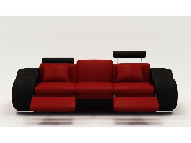 Canapé design 3 places cuir rouge et noir + têtières relax oslo-