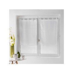 Une paire de rideau voilage 60 x 90 cm coupe dandy blanc