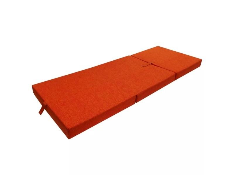 vidaxl matelas en mousse pliable en 3 sections 190 x 70 x 9 cm orange 241605 vente de vidaxl. Black Bedroom Furniture Sets. Home Design Ideas