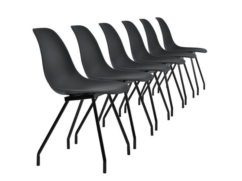 [en.casa]® 6 chaises de design du plastique - pieds stabils en acier - noir