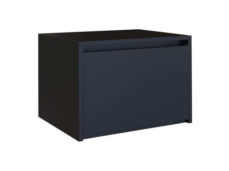 Skont - table de chevet chambre design minimaliste 45x38x34 cm - grand tiroir - meuble de nuit - table de nuit scandinave - noir