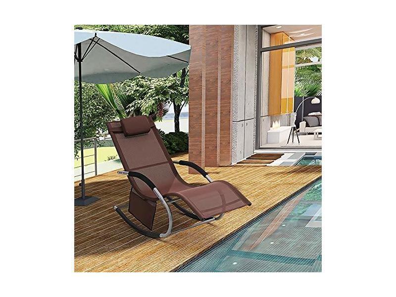 Songmics chaise longue, bain de soleil avec appui-tête et pochette latérale, structure en fer, tissu en fibres synthétiques respirant, confortable,charge max 150 kg, brun gcb23br