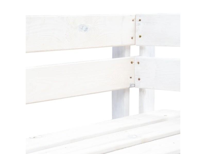 Vidaxl banc d'angle palette de jardin bois blanc 45760