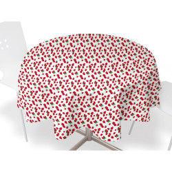 Nappe toile ciree ronde  d 160cm - fraises