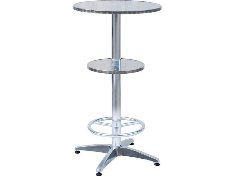 Table haute mange debout en alu avec repose pieds et étagère intermédiaire- a usage professionnel - dim : h 110 x l 60 x ø 60 cm