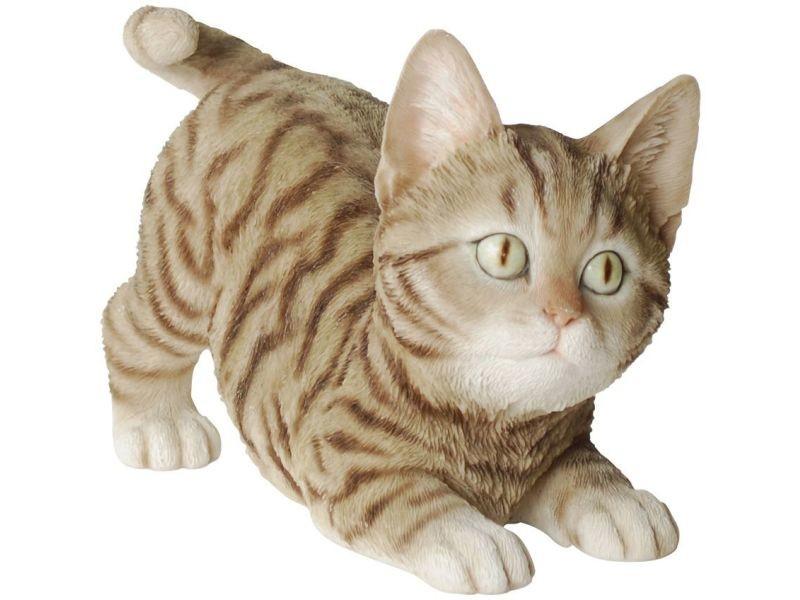 Statue de jardin chaton bondissant en résine 19 cm